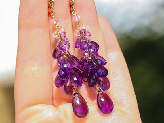 Purple Amethyst Earrings Cascade, Long Cluster Gemstone Earrings