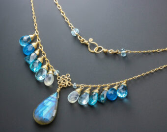 Solid Gold 14K Blue Labradorite with Apatite, Topaz and Moss Kyanite Necklace, Multi Gemstone Statement Necklace