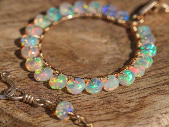 Solid Gold 14K Ethiopian Opal Gemstone Hoop Pendant