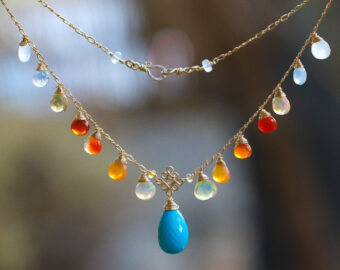 Solid Gold 14K Mexican Fire Opal and Turquoise Drop Necklace