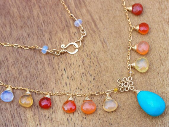 Mexican Fire Opal and Turquoise Gold Filled Drop Necklace