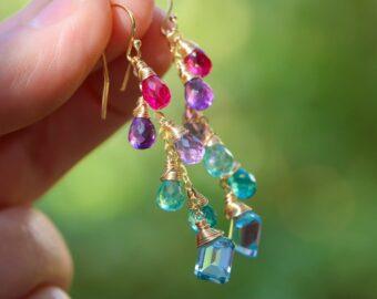 Multi Gemstone Colorful Rainbow Earrings, Long Drop Earrings