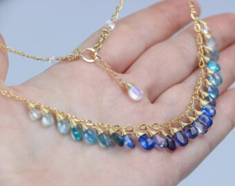 Solid Gold 14K Blue Gemstone Gradated Necklace with Kyanite, Aquamarine and Topaz
