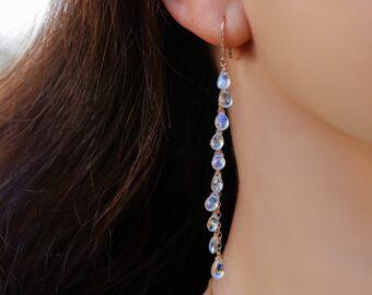 Solid Gold 14K Rainbow Moonstone Earrings with Genuine Diamonds