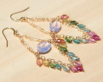 Tourmaline Fringe Earrings, Boho Style Gemstone Dangle Earrings in Gold Filled