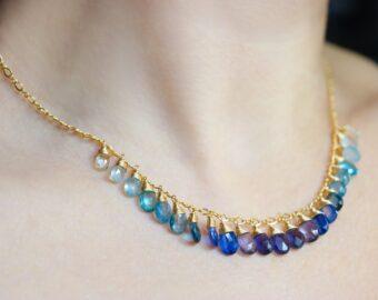 Blue Gemstone Gradated Necklace with Kyanite, Aquamarine and Topaz