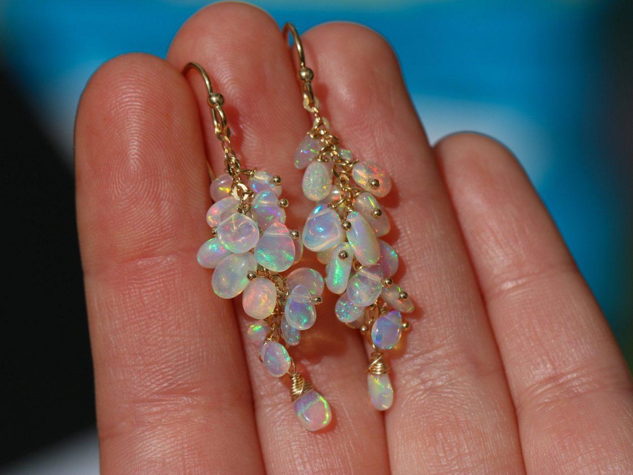 14k Yellow Gold Ethiopian Opal Cascade Cluster Drop Dangle Earrings