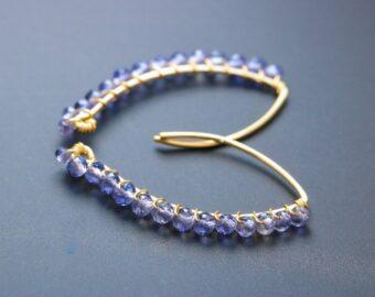 Iolite Gemstone Threader Open Hoops Earrings