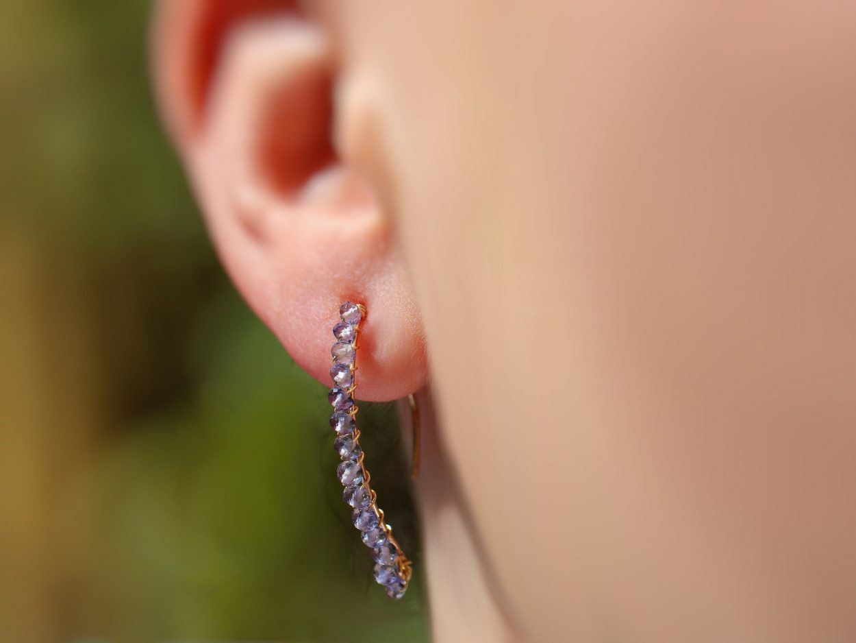 Iolite Earrings Sterling Silver Threader Earrings Gemstone Earrings Iolite Gemstones Chain Earrings Iolite Threader Earrings