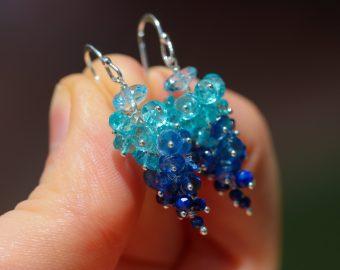 Blue Topaz, Apatite, Kyanite Gemstone Cluster Earrings