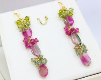 Watermelon Tourmaline Linear Earrings, Luxury Collection 14K Gold Filled, One of a Kind