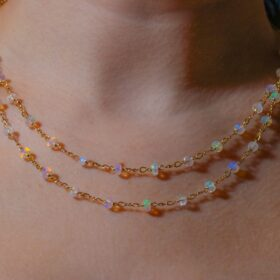 The Moon-Kissed Necklace – Ethiopian Opal and Rainbow Moonstone Gemstone Necklace