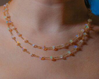 Kissed Necklace - Ethiopian Opal and Rainbow Moonstone Gemstone Necklace
