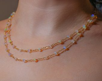 Kissed Necklace - Solid Gold 14K Ethiopian Opal and Rainbow Moonstone Gemstone Necklace