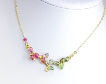 Pink Tourmaline, Green and Teal Blue Tourmaline Gold Bar Necklace, Unique Wire Wrapped Tourmaline Branch Tree Bar Necklace