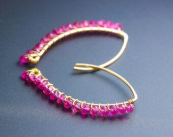 Rubellite Pink Tourmaline Earrings, Modern Linear Gemstone Earrings