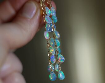Ethiopian Opal Long Dangle Drop Earrings