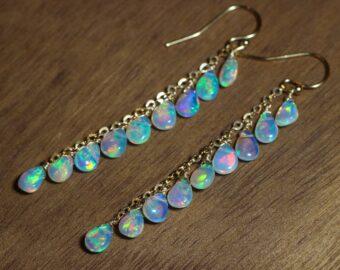 Solid Gold 14K Ethiopian Opal Long Dangle Drop Earrings