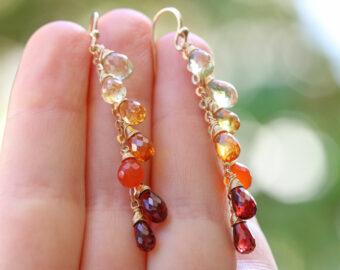 Multi Gemstone Orange Red Drop Colorful Earrings
