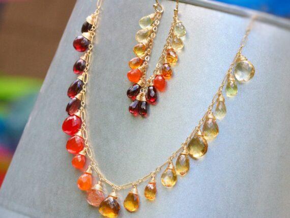 Solid Gold 14K Multi Gemstone Orange Red Drop Colorful Earrings
