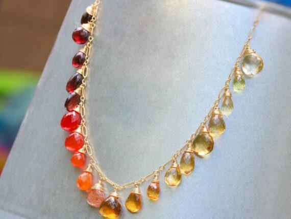 Multi Gemstone Orange Red Drop Necklace, Semi Precious Colorful Necklace