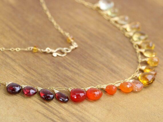 Solid Gold 14K Multi Gemstone Orange Red Drop Necklace, Semi Precious Colorful Necklace