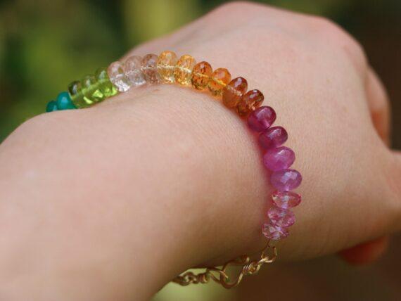 Solid Gold 14K Rainbow Bracelet with Precious Gemstones, Colorful Multi Gemstone Bracelet