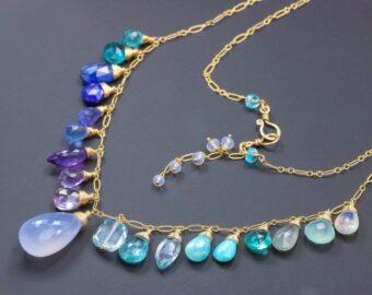 Aqua Blue Purple Multi Gemstone Necklace, Precious Drop Necklace in Gold Filled