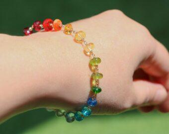 Rainbow Gemstone Bracelet Wire Wrapped in Gold Filled, Precious Multi Stone Bracelet
