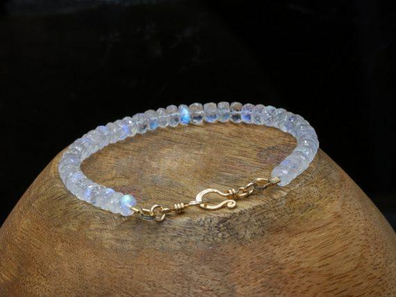 Solid Gold 14K Rainbow Moonstone Blue Fire Bracelet