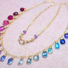 The Mermaid Dream Necklace – Rainbow Multi Gemstone Necklace in Gold Filled, Precious Drop Necklace