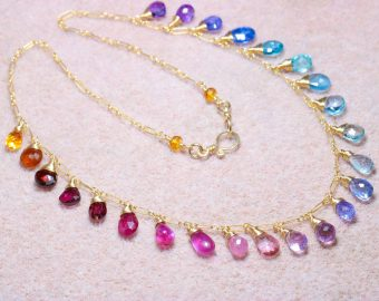 Rainbow Multi Gemstone Necklace in Gold Filled, Precious Drop Necklace