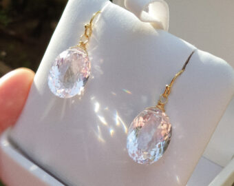 Genuine Pink Amethyst Oval Earrings in Gold Filled