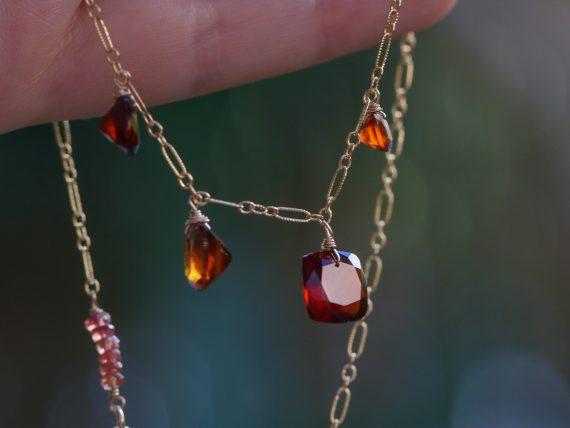 Hessonite Garnet Necklace, Red Orange Gemstone Necklace