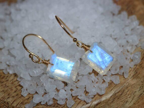 Solid Gold 14K Rainbow Moonstone Earrings