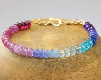 Rainbow Bracelet with Precious Gemstones, Colorful Multi Gemstone Bracelet
