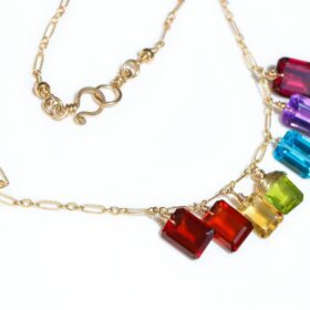 Beyond The Clouds Necklace – Rainbow Gemstone Necklace with Colorful Precious Stones