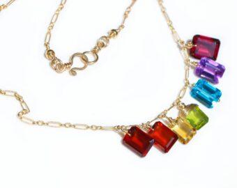 Rainbow Gemstone Necklace with Colorful Precious Stones