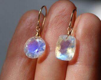 Solid Gold 14K Mismatched Rainbow Moonstone Earrings