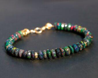 Black Opal Bracelet, Ethiopian Opal Bracelet