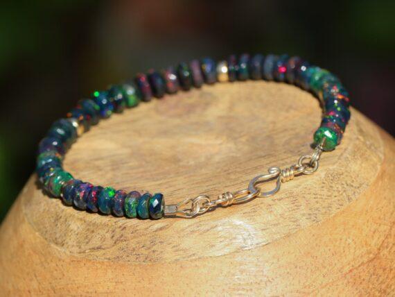 Solid Gold 14K Black Opal Bracelet, Ethiopian Opal Bracelet