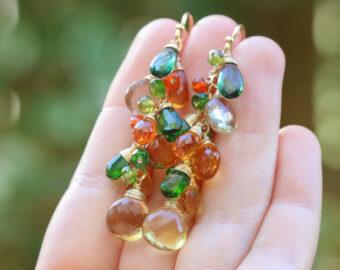 Multi Gemstone Earrings, Fall colors