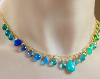Solid Gold 14K Green and Aqua Blue Gemstone Drop Necklace, Statement Semi Precious Stone Necklace
