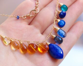 Solid Gold 14K Lapis Lazuli Citrine Gemstone Necklace, Statement Luxury Necklace