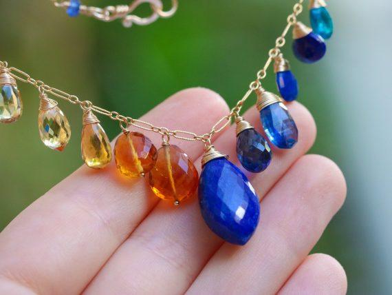 Lapis Lazuli Citrine Gemstone Necklace, Statement Luxury Necklace