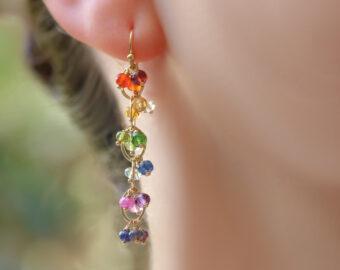 Rainbow Gemstone Chain Earrings