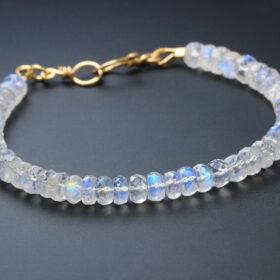 The Moonlight Bracelet – Rainbow Moonstone Blue Fire Bracelet