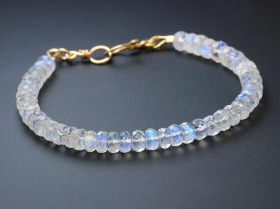 Rainbow Moonstone Blue Fire Bracelet