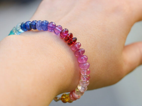Solid Gold 14K Colorful Gemstone Bracelet, Semi Precious Stone Bracelet