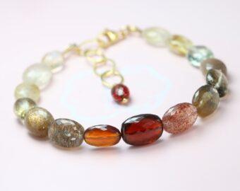 Golden Orange Red Gemstone Bracelet, Semi Precious Stone Bracelet